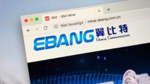Une photo montrant le site Web d'Ebang (EBON) sur un navigateur.