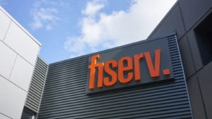 FISV stock The Fiserv sign is seen at its office in Beaverton, Oregon