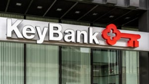 KEY stock KeyBank sign and logo in Pittsburgh