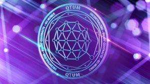 A digital illustration of the cryptocurrency Qtum (QTUM).