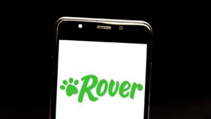 The logo for Rover displayed on a smartphone screen.