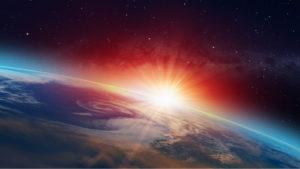 El sol coronando la curvatura de la Tierra.