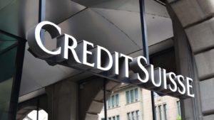 A sign for Credit Suisse (CS) hangs in Zurich, Switzerland