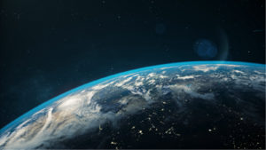 Beautiful space view of the Earth with cloud formation