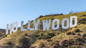 A close-up shot of the white Hollywood sign.
