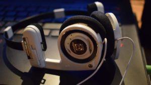 A pair of white Koss (KOSS) Porta Pro headphones.