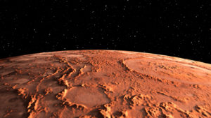 space stocks Mars - the red planet. Martian surface and dust in the atmosphere