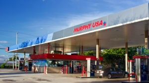 Murphy USA gas station and convenience store located on an out parcel of a Walmart Supercenter