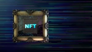 Concept art of an NFT within a photo frame.