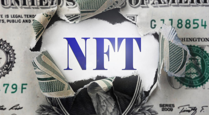 NFT behind dollar bill