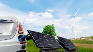 Concept art of solar panels charging a vehicle.