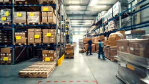 warehouse interior with shelves, pallets and boxes D