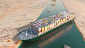 A 3D concept image of the Ever Given stuck blocking the Suez Canal.