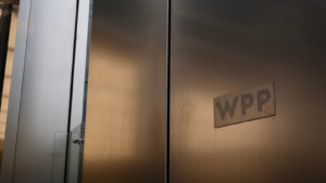 WPP brand logo sign at World Trade Center US office location entrance