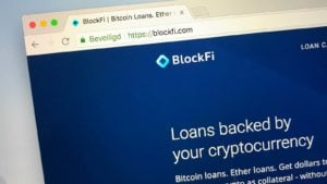 A close-up of the website for BlockFi.
