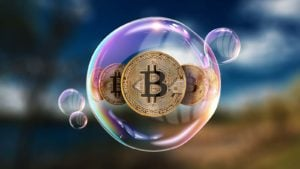 A concept image showing Bitcoin (BTC) in a bubble.