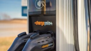 A close-up shot of a ChargePoint (CHPT) charging station.