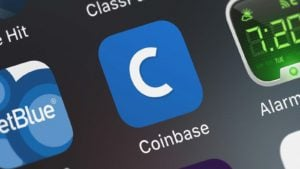 The app for Coinbase (COIN) displayed on an iPhone screen.