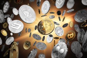 Crypto-monnaies volant dans les airs