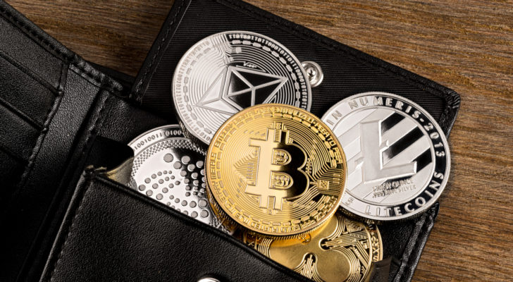Image of cryptocurrency tokens in a wallet.