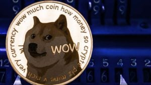 A concept image of Dogecoin (DOGE) with the Shiba Inu and text on a gold token.