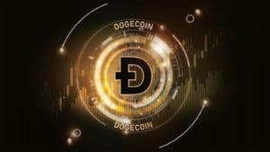 Concept art for Dogecoin (DOGE).