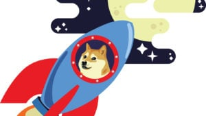 Doge riding a rocket to the moon.