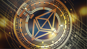 Close up image of a ETH crypto token.