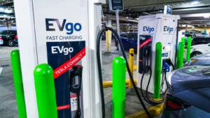 EVgo charging station with Tesla Connect adapter in use