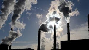 Smoke stacks at coal burning power plant