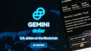 The webpage for the Gemini Exchange.