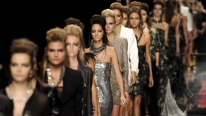 Models walk the catwalk in a 2009 show in Milan, Italy.