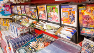 Various trading card brands in a store.