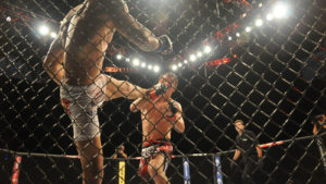 UFC fighters in a cage match.