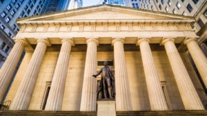 A view of the Federal Hall on Wall Street representing pre-market stock movers.