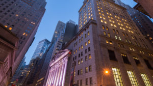 Wall Street in the early morning.