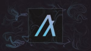 A logo for Algorand (ALGO) on a patterned background