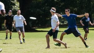 Men playing a game of ultimate frisbee