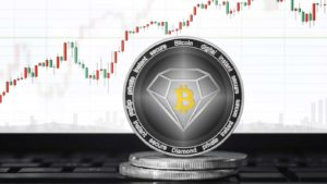 A concept coin for Bitcoin Gold (BCD) with a trading chart in the background.