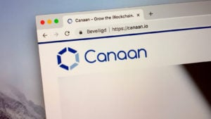 web browser showing Canaan (CAN) logo on website