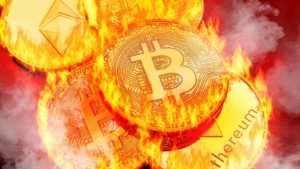 A concept image of Bitcoin (BTC) and other coins on fire.