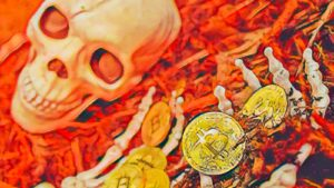 A concept image of a flaming skeleton with BTC tokens in its hand.
