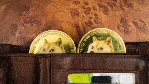 """Dogecoin coins with doge faces peeking out of brown leather wallet. The coins have the words """"wow much coin how money"""" embossed on them."""