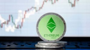 A concept shot of the Ethereum Classic (ETC) coin