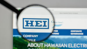 graphic of magnifying glass zooming in on Hawaiian Electric Industries (HE) webpage