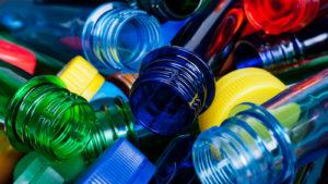 Various colorful plastic bottles.