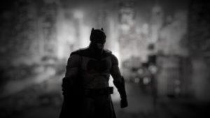 Silhouette of Batman stalks the night.
