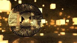 A concept coin for Monero (XMR) has a sparkly gold background