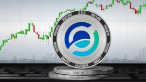 The Horizen (ZEN) crypto in front of a trading chart.
