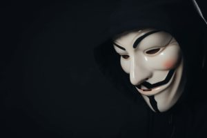 An anonymous person in a Guy Fawkes mask.